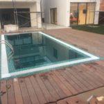 Отделка термодревесиной площадки вокруг бассейна 2